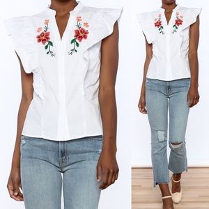 Flying Tomato Cotton Embroidered button-down front